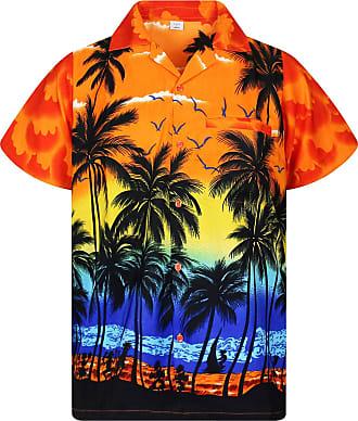 V.H.O. Funky Hawaiian Shirt, Shortsleeve, Beach, Orange, 3XL