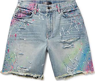 Amiri Thrasher Wide-leg Distressed Paint-splattered Denim Shorts - Light blue