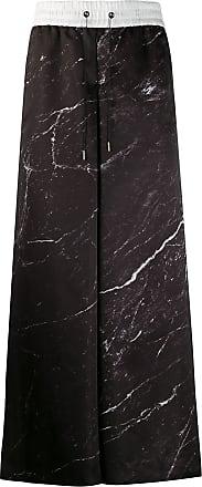 Fumito Ganryu Calça pantalona com estampa marmorizada - Preto