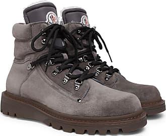 Moncler Egide Shearling-lined Suede Walking Boots - Dark gray