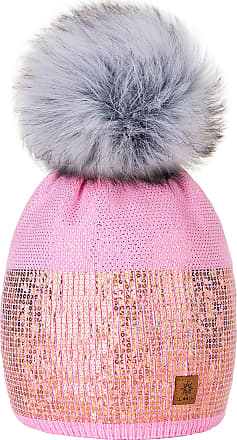 4sold Womens Ladies Winter Hat Knitted Beanie Large Pom Pom Cap Ski Snowboard Hats Bobble Small Crystals Sequins (Pink)