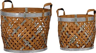 A & B Home Round Wooden Woven Baskets - Set of 2 - 43754