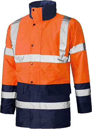 Mens Hi Vis Visibility 2 Tone Parka Jacket Work Wear Security Padded Coat Siz...