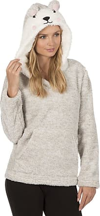 Forever Dreaming Womens Hooded Pyjama BedTop Snuggle Fleece Taupe XL