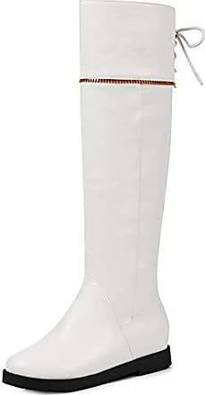 c18ffdc990 Aisun Damen Zierreißverschluss Schleife Schnürung Keilabsatz Innensohle  Langschaft Stiefel Weiß 30 EU
