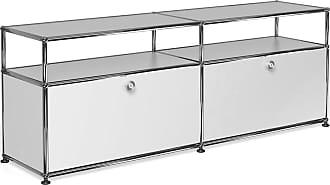 USM Haller Lowboard mit 2 Klapptüren - reinweiß RAL 9010/152.3 x 56.5 x 37.3 cm/2 offene Fächer ohne Rückwand