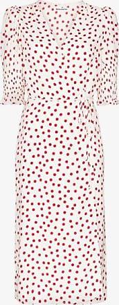 Reformation Womens White Esmerelda Polka Dot Print Wrap Dress