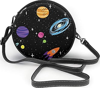 Turfed Spaceships and Planers Print Round Crossbody Bags Women Shoulder Bag Adjustable PU Leather Chain Strap and Top Zipper Small Handbag Handle Tote
