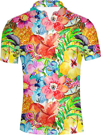 Hugs Idea Flowers Print Hawaiian Short Sleeve Jersey Sport T-Shirt Tees Slim Fit Button Down Shirts Beach Aloha Party Rich