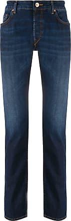 Hand Picked Calça jeans reta cintura alta - Azul