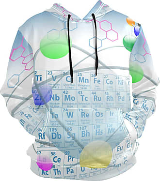 NaiiaN Casual Graphic Print Long Sleeve Pullover Hooded Sweatshirt Chemistry Atomic Elements Periodic Table Mens Hoodie Letter with Pocket