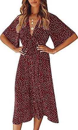 87beb309375cff Yidarton Sommerkleid Damen V-Ausschnitt Polka Dot Midikleid Knielänge  Vintage Boho Kurzarm Strandkleider (Rot
