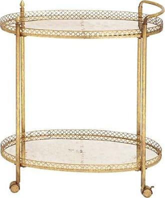 UMA Enterprises Inc. Deco 79 93749 2-Tier Textured Gold Iron & Oval Mirror Rolling Bar Cart, 30 x 35