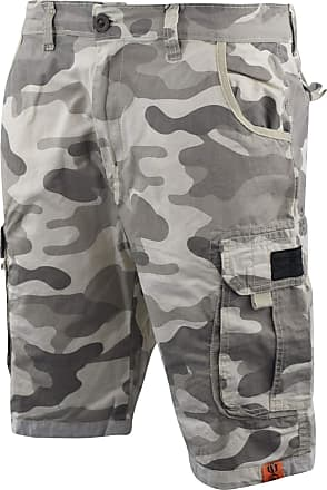 Crosshatch Mens Chinos Camo Cargo Shorts Jeans Combat 3/4 Knee Length Watchford(W30,Stone Camo)