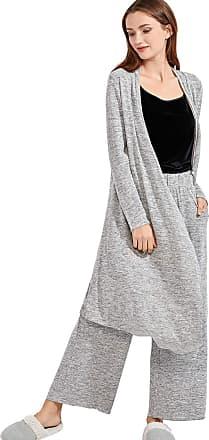 Delimira Womens Drape Front Robe Long Sleeve Sleepwear Loungewear Plus Size Grey M
