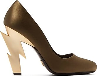 Prada Lightning Bolt-heel Satin Pumps - Womens - Khaki