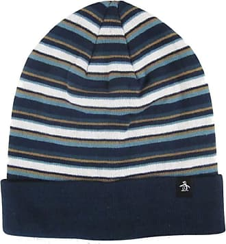 Original Penguin Mens Turn Up Boreal Blue Multi Striped Beanie Hat One Size
