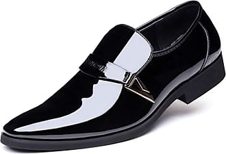Daytwork Business Leather Shoes Mens - Men Pumps Slip On Ankle Smart Driving Shoes Shiny Patent Dress Wedding Casual Formal Office Work Shoe White Black Brown