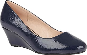 Lotus Navy Rose Crinkle Shiny Wedge Shoes 5