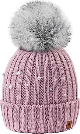 02fdf41f 4sold Ball Colour Rouse Pink Womens Girls Winter Hat Wool Knitted Beanie  with Large Pom Pom