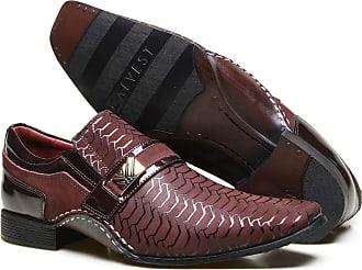 Calvest Sapato Social em Couro com Textura e Costuras Manuais Calvest - ZM1930C969-002 Bordô-43