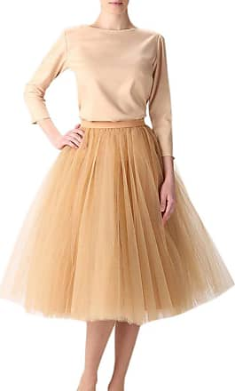 Clearbridal Womens 50s Vintage Tulle Petticoat Tutu Skirt Bridal Petticoat Underskirt for Prom Evening Wedding Party 12021 Gold