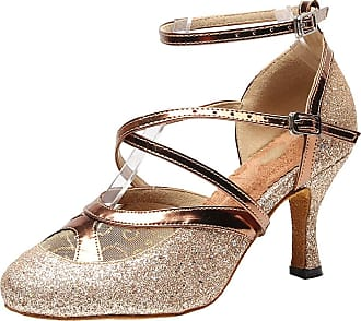 Find Nice Womens Latin Ballroom Shoes Ankle Strap Flat Bride Wedding Party Round Toe 7144 Gold 4.5 UK
