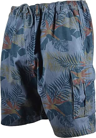 Espionage Big Mens Leonard Cargo Shorts Floral Elasticated Casual 2XL to 8XL Casual Kingsize, Size : 5XL Denim Blue
