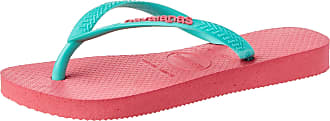 Havaianas Womens HAV Slim Logo Porcelain Rose/Green Dew Flip-Flop, Multicolor (White/White/White), 6 Child UK