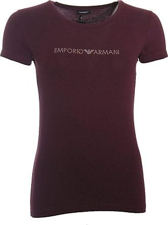 Emporio Armani Women Diamante Logo Stretch Cotton Crew Neck T-Shirt, Plum Violet Burgundy Medium - Size 12