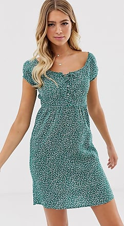 Pimkie dress with square neck in ditsy floral print-Green