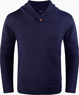 iClosam Mens Shawl Collar Jumper Fine Knit Cotton Pullover Sweater Winter Outwear Top Blue