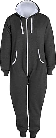 Islander Fashions Adults Zip Up Onsie1 Hooded Playsuit Unisex Thermal All in One Sports Jumpsuit Charcoal 5X Large