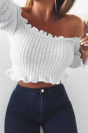 4a31448bc77 I Saw It First White Bardot Ribbed Long Sleeved Crop Top - 10 / WHITE
