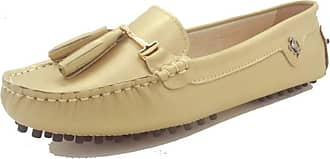 MGM-Joymod Womens Comfortable Champagne Gold Leather Tassel Buckle Driving Outdoor Walking Casual Flats Slip-on Loafers Boat Shoes 4.5 M UK