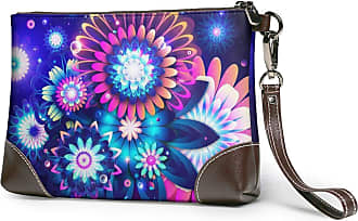GLGFashion Womens Leather Wristlet Clutch Wallet Flowers Space Abstract Storage Purse With Strap Zipper Pouch