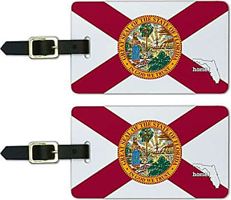 Graphics & More Graphics & More Florida Fl Home State Luggage Suitcase Id Tags-Flag, White