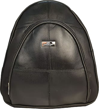 Quenchy London Ladies Soft Leather Backpack Handbag for Women - Small Black Rucksack Bag with Multiple Pockets 28cm x 26cm x 10cm QL948