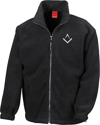 Military Online Freemasons Square and Compass Embroidered Logo - Full Zip Heavyweight Fleece Jacket Black