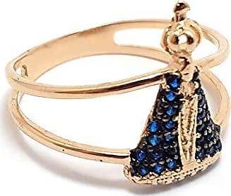 Boreale Joias Anel Prata 925 Nossa Senhora Zircônias Azuis Banho Ouro 18k