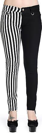 Banned Split Leg Skinny Jeans - Choice of Colours (30, Blk/WhiteStripe)
