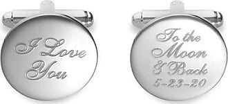 Zales Mens I Love you To the Moon & Back Engravable Circle Cuff Links in Sterling Silver (1 Date)