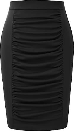 Grace Karin Ladies Summer Skirt Vintage Elastic Fancy Party Cocktail Skirt Slim Ruffled Front Prom Pencil Skirt Black L