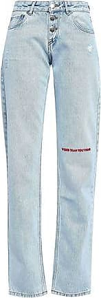 Each Other Each X Other Woman Embroidered Distressed Mid-rise Boyfriend Jeans Light Denim Size 26