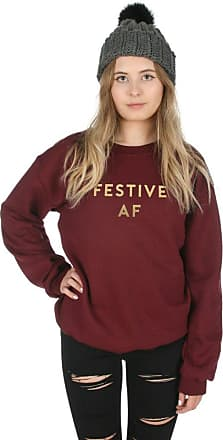 Sanfran Clothing Sanfran - Festive AF Gold Top Christmas Xmas Funny Gift Jumper Sweater - Double Extra Large/Maroon