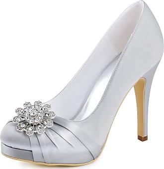 Elegantpark EP2015-PF Women Closed Toe Pumps Platform High Heels Court Shoes Rhinestones Satin Wedding Party Bridal Shoes Silver UK 5(EU 38)