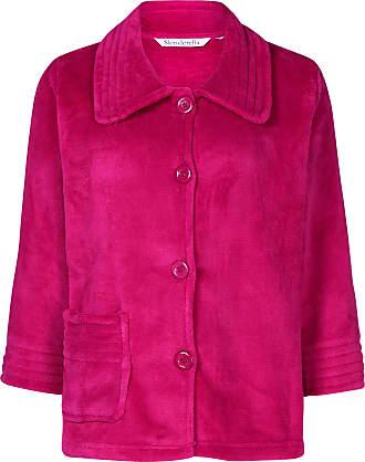 Slenderella Stitch Detail Coral Fleece Button Bed Jacket (Small, Raspberry)