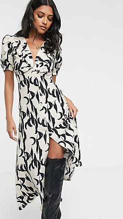 Glamorous vintage button front midi tea dress in brushstroke print-Tan