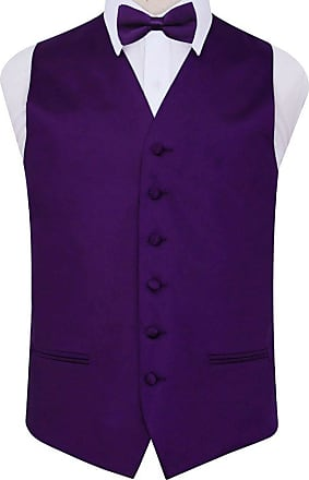 DQT Woven Plain Solid Check Coral Mens Wedding Waistcoat /& Bow Tie Set
