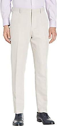 Perry Ellis Mens Portfolio Modern Fit Linen Blend Pants, Natural, 31x30